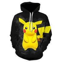 Nouveau 3D impression à capuche en hiver haajuku mode manteau dessin animé Pokemon sweats à capuche anime Pikachu loisirs sweat-shirt noir veste