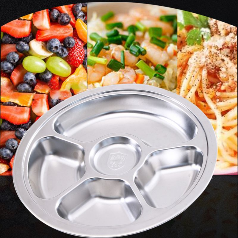 Stainless Steel Divided Dinner Tray Lunch Container Food Round Plate for School Canteen 3 4 5 6 Section in Dishes Plates from Home Garden