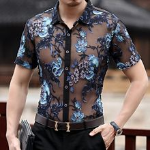 Summer Short Sleeve Floral Embroidery Slik Shirt Men See Through Sexy Transparent Shirt Men Club Party Camisa Social Masculina(China)