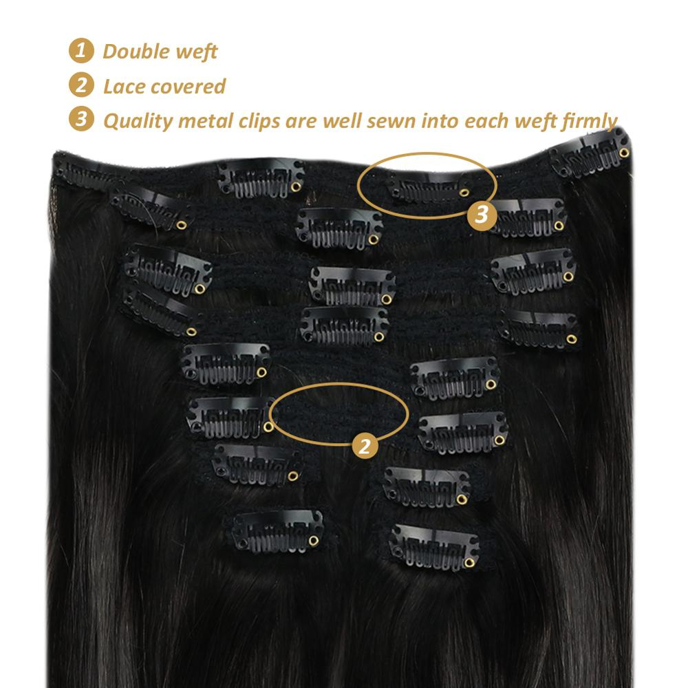 """[11 Colors] Ugeat Thick Clip in Hair Extensions 14-24"""" Full Thick End Clip on Hair 120G/10Pcs Double Drawn Weft Human Hair"""