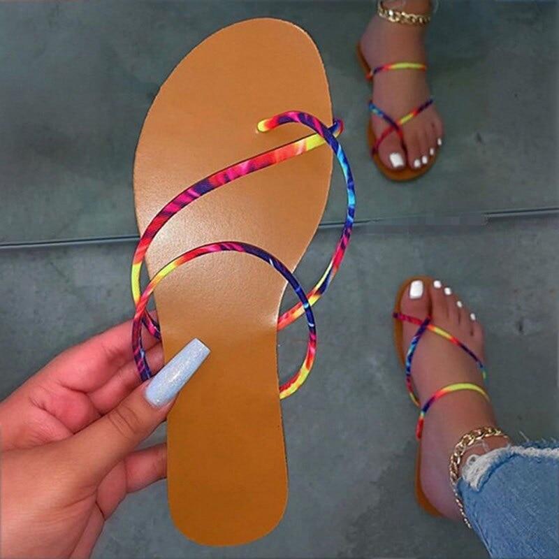Women Slippers 2020 Summer Beach Flat Female Shoes  Big Size 42 Woman Rhinestone Flip Flop Ladies Women