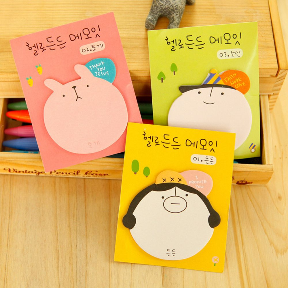 2PCS/Pack Cute Cartoon Sticker Stationery Cartoon Big Head N Times Sticker Office Study Note Book Color Random