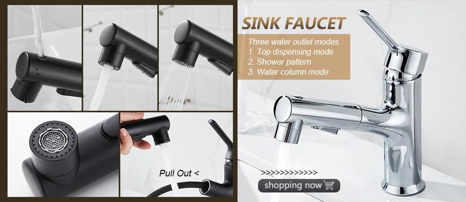 H8dc04dd7f8ba47c1a9a65717766ffec1Q Black Faucet Bathroom Sink Faucets Hot Cold Water Mixer Crane Deck Mounted Single Hole Bath Tap Chrome Finished ELM457