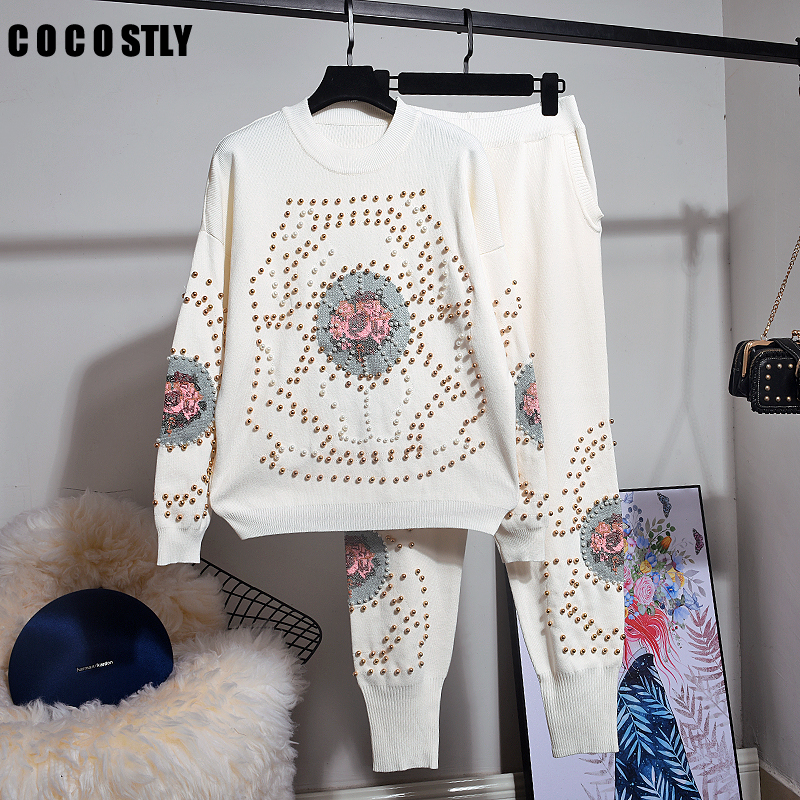 Women Tracksuit Handmade Embroidery Beading Knitted Sweaters+Trousers 2 Pieces Sets Women Clothes Female Knitting Suits