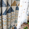 American Style Curtains for Living Dining Roon Bedroom Geometric Cotton-linen Printed Curtains Tulle Curtains Window Curtain