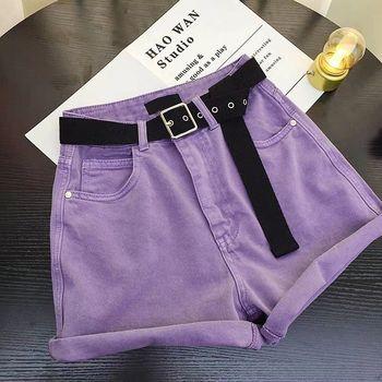 With Belt Sport Denim Shorts for Women Running Vintage Denim Shorts High Waist Summer Women Shorts Jean Crimping Sexy Shorts roll up hem denim shorts with belt