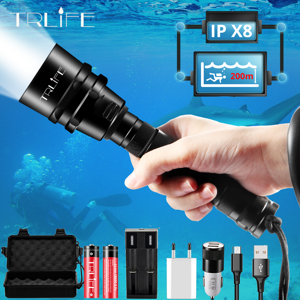 Brightest Professional Diving Flashlight XML T6 L2 Portable Scuba Dive Torch 200M Underwater IPX8 Waterproof 18650 Flashlights