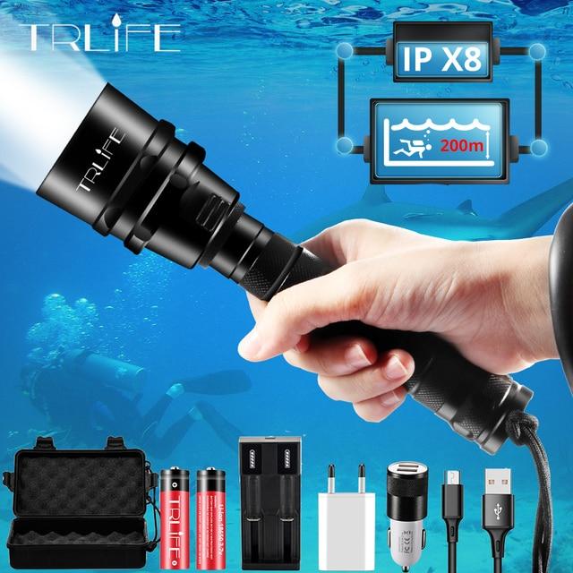 Brightest Torcia Subacquea Professionale XML T6 L2 Portatile Scuba Dive torcia 200M Subacquea IPX8 Impermeabile 18650 Torce Elettriche