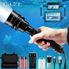 ألمع المهنية الغوص مضيا XML T6 L2 المحمولة الغوص الشعلة 200 متر تحت الماء IPX8 مقاوم للماء 18650 مشاعل