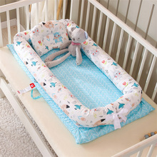 90X50cm Cotton Portable Baby Nest Newborn Crib Cradle with Pillow Cushion Removable Infant Bed Cradle YHM048