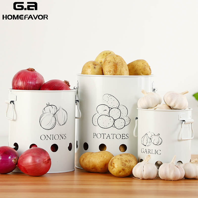 3 Pcs Storage Box Potatoes Onions Garlic Bin Kitchen Food Container White Buckets Breathable Metal Box With 2 Handles