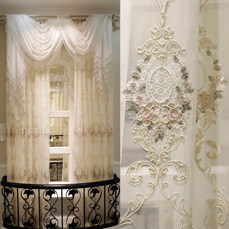 Luxo cortinas para sala de estar quarto morden tule tela da janela moda voile luxo cortinas para a sala estar