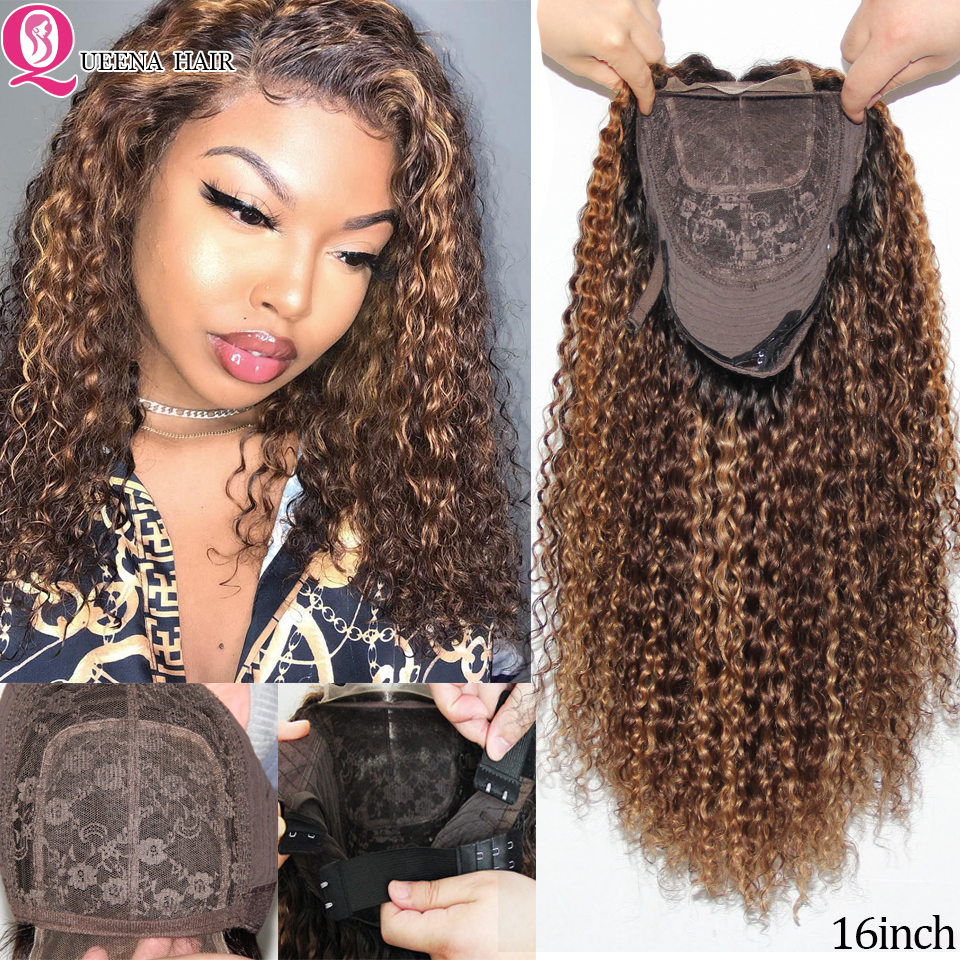 Blonde Highlight Lace Closure Human Hair Wigs Colored Ombre Curly Lace Wig 180% Brazilian Highlighted Wigs For Black Women Remy
