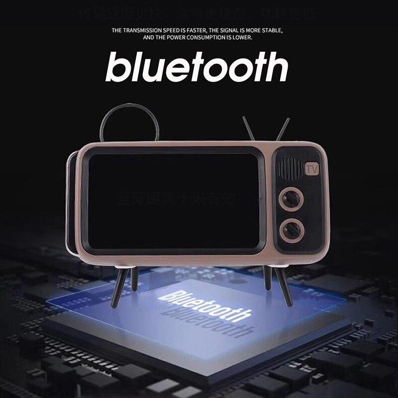 Retro TV Mini Portable Bluetooth Bass Speaker Mobile Phone Holder 3 In 1 Wireless Peaker Speaker Retro Photo Frame For Gift