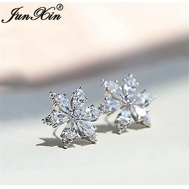 Cute Crystal Snowflake Earrings White Gold Clear White Zircon Star Flower Stud Earrings For Women Wedding Ear Studs Jewelry Cz
