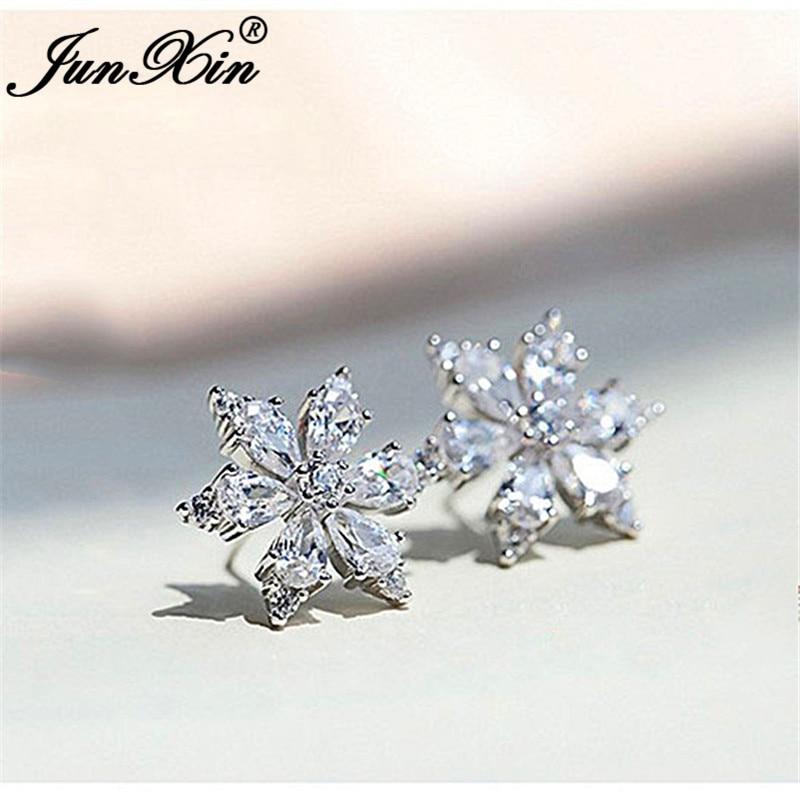 Cute Crystal Snowflake Earrings White Gold Clear White Zircon Star Flower Stud Earrings For Women Wedding Ear Studs Jewelry Cz