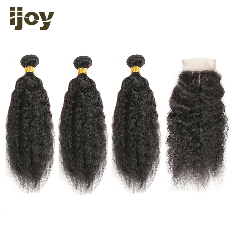 "Kinky Straight Human Hair 3 Bundles With 4x4 Lace Closure Natural Color 8""-26"" M Brazilian Hair Weave Bundles Non-Remy IJOY"