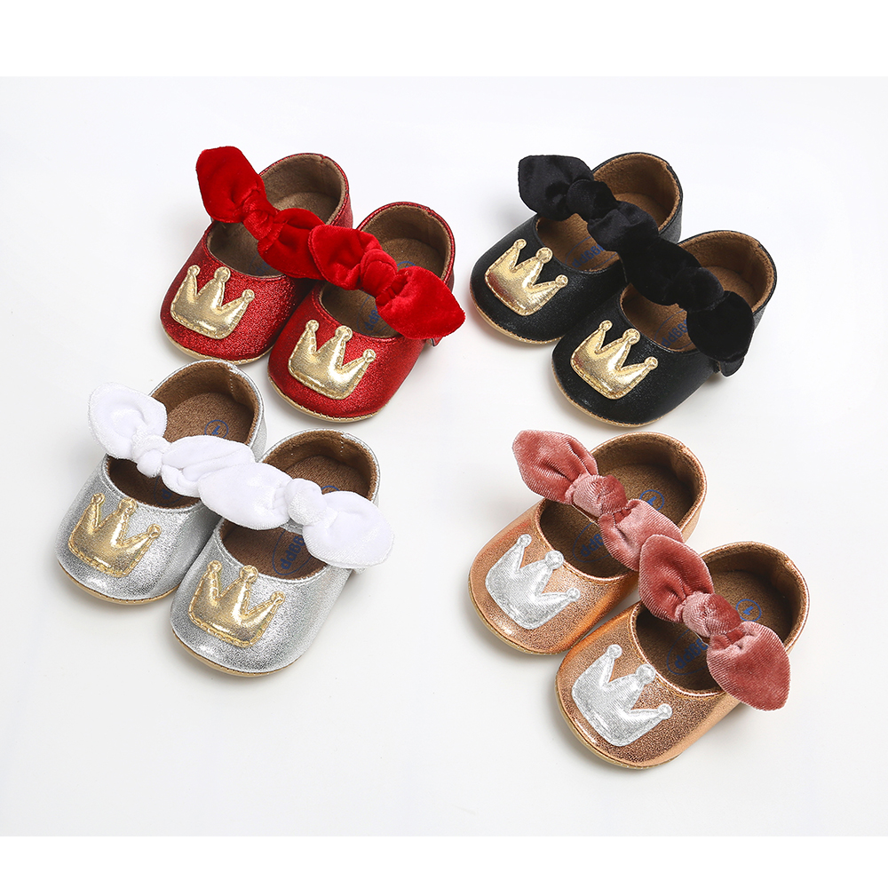 Infant Newborn Baby Shoes Girl Boy Dress Princess Gold Crown Toddler PU Bling Soft Sole Anti-slip First Walkers Baby Crib Shoes