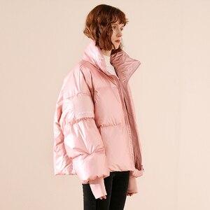 Image 4 - 새로운 광택 방수 여성 자 켓 파 카 2019 겨울 자 켓 여성 패션 Windproof 따뜻한 패딩 아래로 파 카 여성 코트 여성