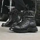 Модные мужские ботильоны «Челси» из натуральной кожи с круглым носком; мужские ковбойские ботинки martin - 4