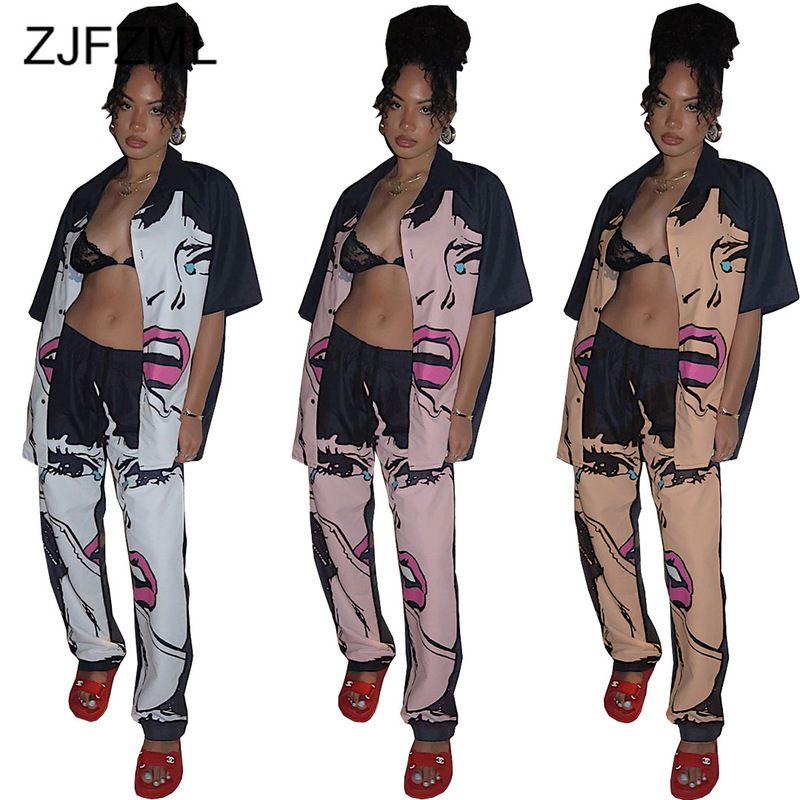 Sexy Character Print Two Piece Set Women Tracksuit Turn Down Collar Short Sleeve Shirt And High Waist Straight Pant Sweat Suits