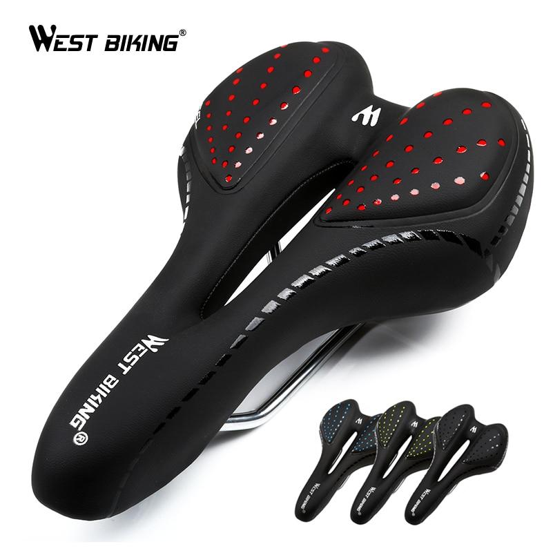 WEST BIKING Bicycle Saddle Breathable PU Leather Hollow Cushion Comfortable Road MTB Bike Saddle GEL + Polyurethane Shockproof