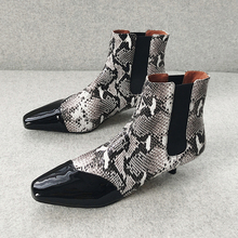 Plus Size 34-43 Genuine Leather Mixed Colors Boots Snake Print Arrival Ankle Boots Riding Shoes Women Fashion High Heels Booties plus mixed print high low tee
