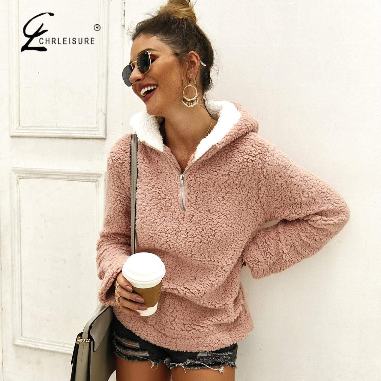 Women Turtleneck Pullover Sweater Loose Plush Solid Zipper Pocket  Sweater Casual Long Sleeve Sweters Women