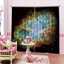 Psychedelic Cosmic Starry Sky Fabric Window Curtains for Living room bedroom drapes 2 panels hooks window Curtains(China)