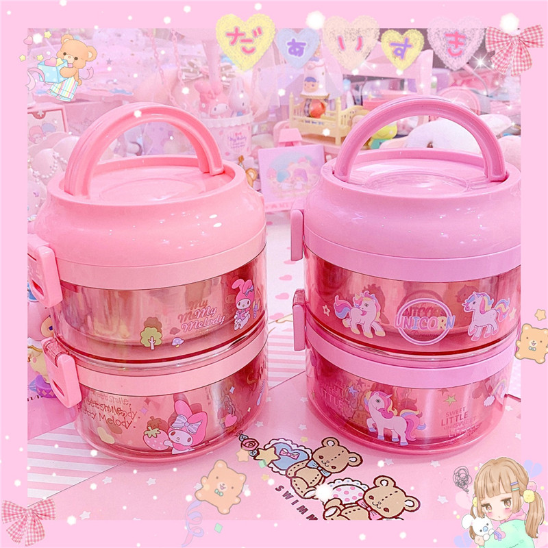Cartoon My Melody Lunch Box Stainless Steel Double Layer Food Container Portable For Kids Kids Picnic School Bento Box