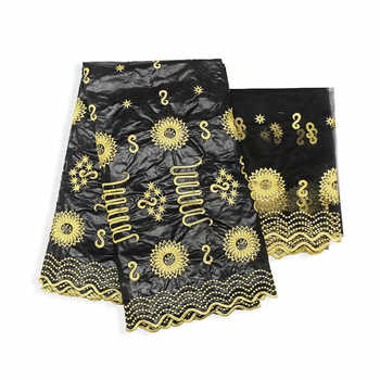 Factory offers Popular Gezner African Bazin riche lace with beads fabric with scarf for Woman Party Dresses 5+2Yds/pcs Black