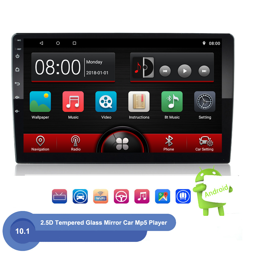 Android 2 Din autoradio Multimedia Video Player GPS Navigation 10.1