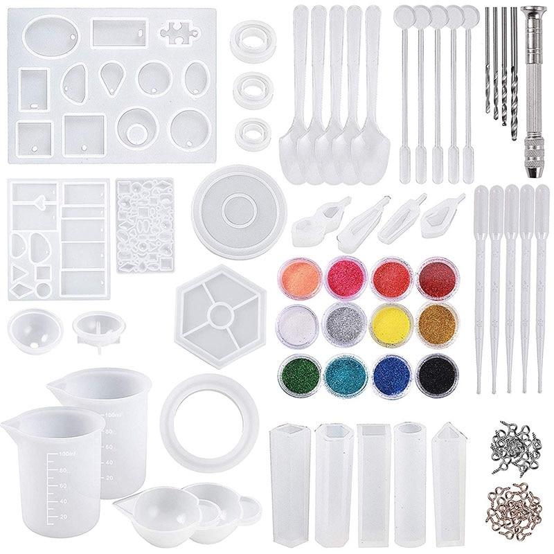 DIY Jewelry Casting Molds Tools Set 255 PCS Silicone Resin Casting Molds And Tools Set With 100 Ml Silicone Measuring Cups Mini