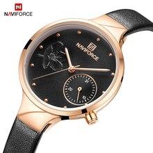 Marka NAVIFORCE luksusowe skórzane modne zegarki damskie kreatywne Rose Dial Casual elegancka dama zegarek kwarcowy na rękę Relogio Feminino