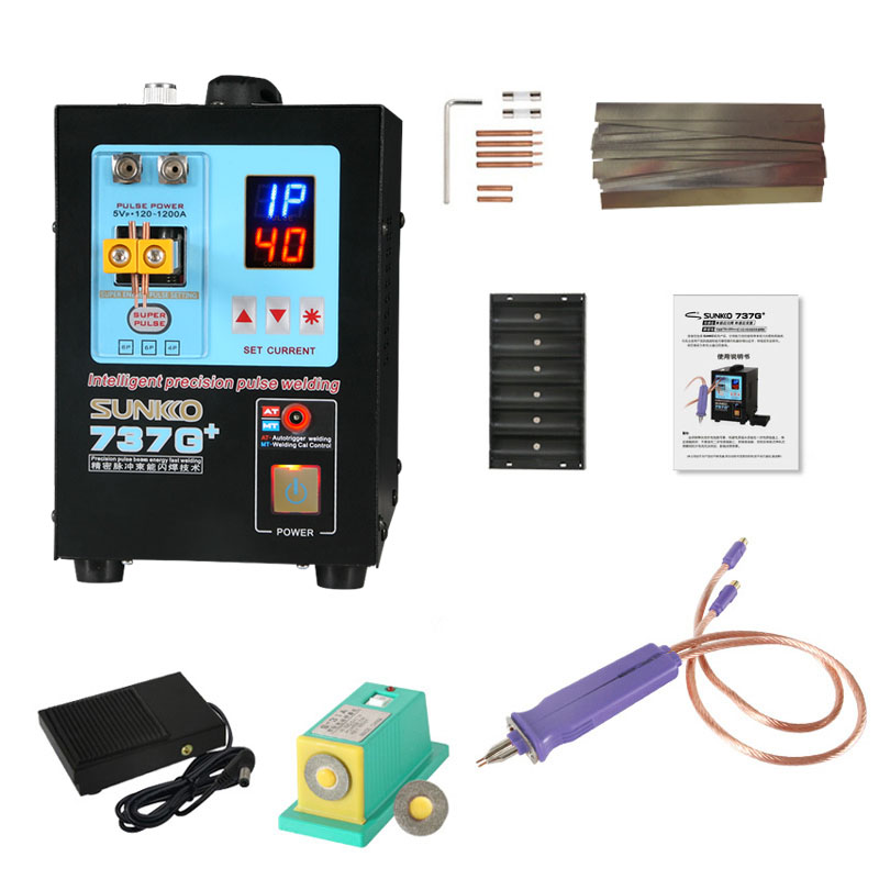 SUNKKO737G   110V High Power Automatic Spot Welding Machine For 18650 Lithium Batteries Pulse Spot Welders free shipping