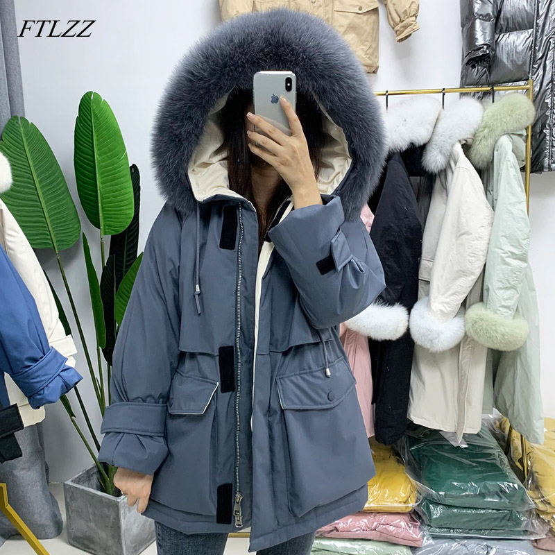 FTLZZ New Real Fur Hooded Winter Women White Duck Down Jacket Snow Thick Parkas Warm Coat Waterproof Down Overcoat