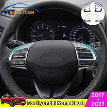 Xburstcar Auto For Hyundai Kona Kauai 2017   2021 2Pcs/Set Car Steering Wheel Buttons Panel Decoration Cover Trim Accessories