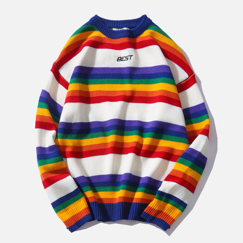 Fashion Retro Men Wool Sweater Rainbow Striped O-Neck Casual Knitted Couple Sweater Men Women Lovers Loose Pullovers Sweaters