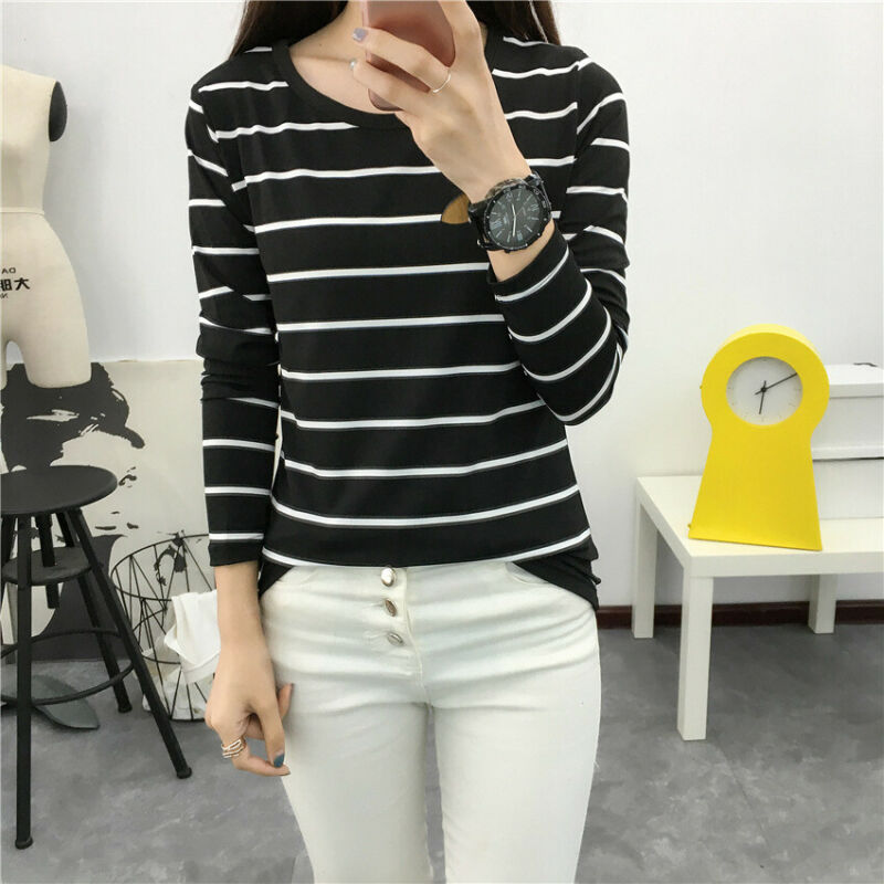 Women Fashion Striped Slim Fit Tops Ladies Long Sleeve O Neck T-shirt Clothes Trend Casual Slim Fit Top Tees Shirt