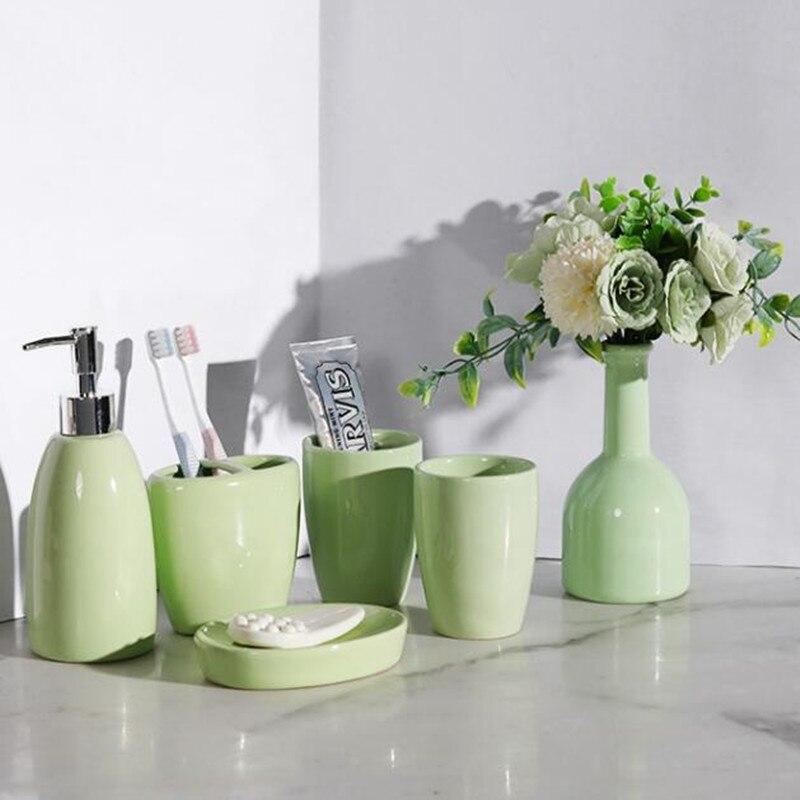 WSHYUFEI Kit de salle de bains en céramique européenne | Créative outils de lavage, bouteille de Lotion, tasse de bain de bouche, savon, plateau en plastique, ensemble de salle de bain