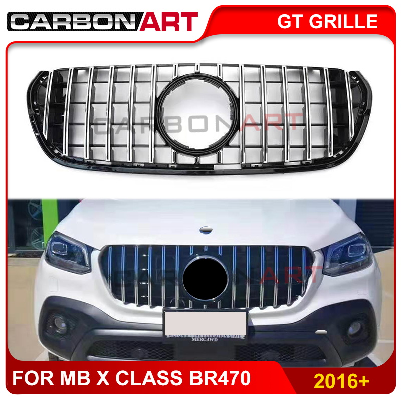 For Mercedes X Class br470 W470 grill ABS Silver GTR Style Look Front Bumper grille 2016+ image