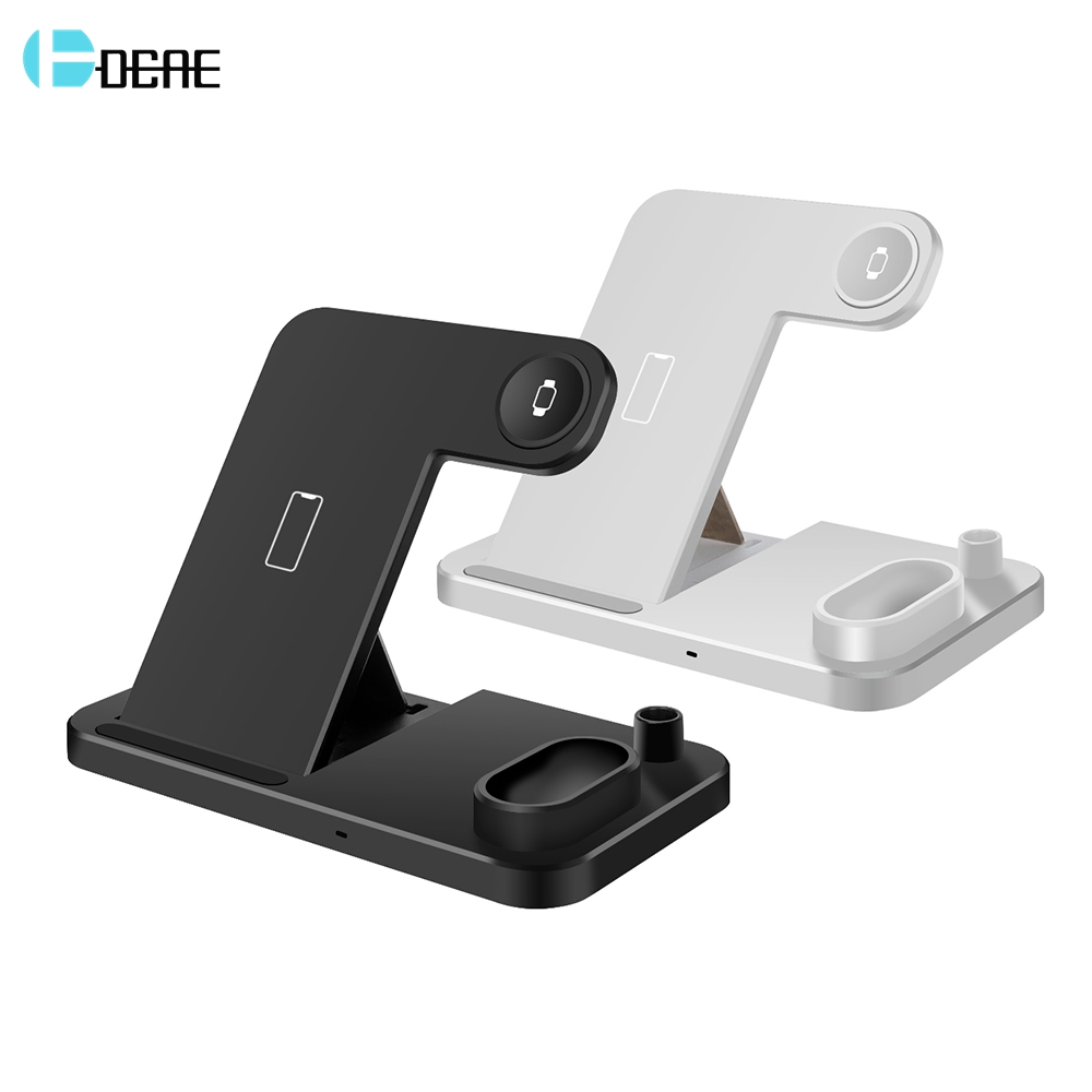 DCAE For Apple Watch Charger 4 In 1 Charging Dock Station For IPhone 11 XR XS X 8 IWatch 5 4 3 2 1 Samsung 10W Wireless QI Stand