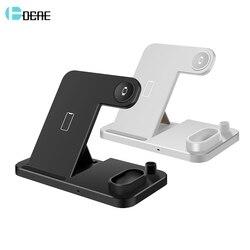 DCAE Para Apple Carregador Relógio 4 Em 1 Estação De Carregamento Doca Para O Iphone 5 11 XR XS X 8 iWatch 4 3 2 1 Samsung 10W QI Sem Fio Stand