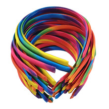 Kids Girls Head Hoop Hairbands For Women Colored Satin Covered Resin Ribbon HeadBand Hair Accessory 10pcs/lot