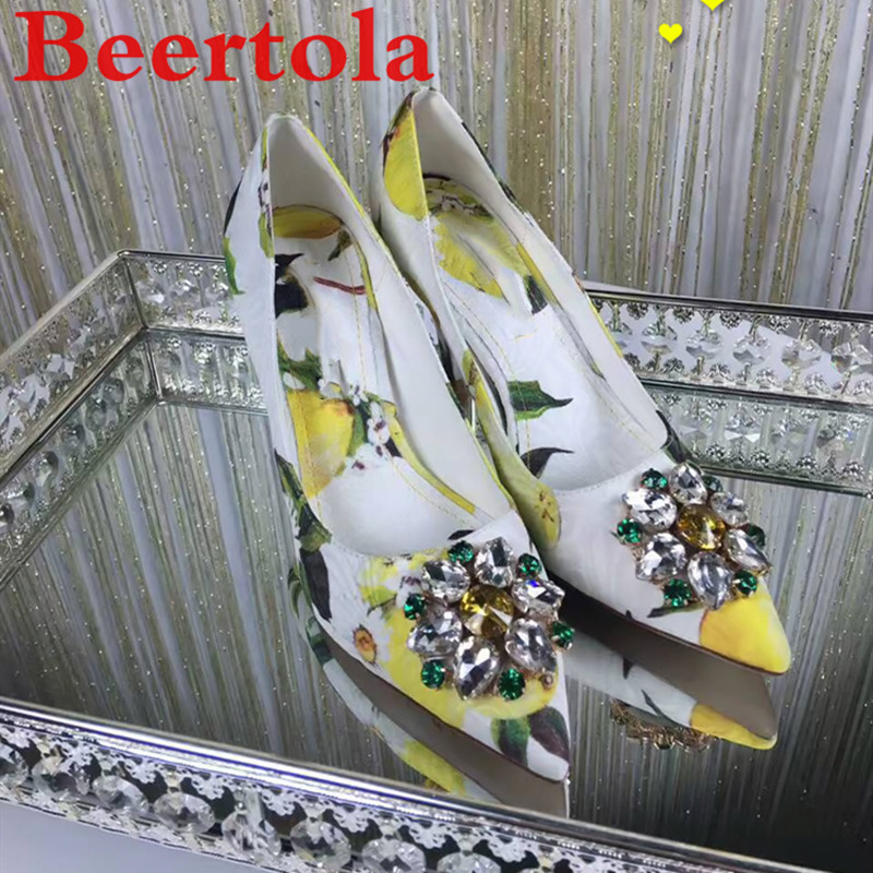 Women's Pumps Wedding-Shoes Lemon Crystal-Flowers High-Heels Party Pointed-Toe New Slip