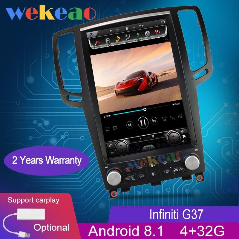 Pantalla Vertical Wekeao estilo Tesla 12,1 ''Radio Android para coche navegación GPS para Infiniti G37 G35 G25 G37S reproductor de Dvd para coche 2007 +