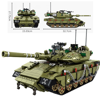 Military Israel Merkava Battle Tank Model Building Blocks Army Soldie Armored vehicles Weapon 1