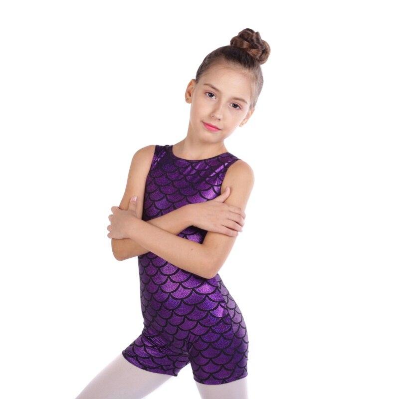 Girls Gymnastics suit sleeveless trousers radium color matching body suit ballet gymnastics dance child dance practice