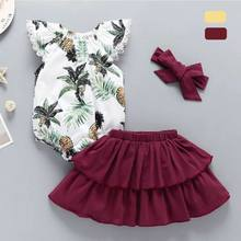 3Pcs Infant Baby Girl Clothes Ruffle Sleeve Floral Romper Tutu Dress Outfit Set(China)