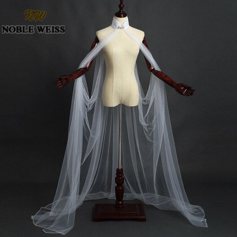 Wedding Cape Bridal Shawl White Ivory Black Long Tulle Cape Cloak High Neck Elegant Shawl Shrugs Chaquetas De Fiesta Mujer
